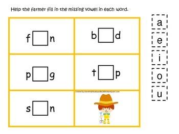 Down on the Farm themed CVC #1 preschool learning activity.  Homescool.