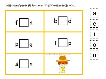 Down on the Farm themed CVC #1 preschool learning activity.  Homescool.