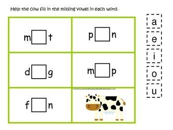 Down on the Farm themed CVC #2 preschool learning activity.  Homescool.