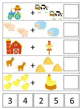 Down on the Farm themed Math Addition preschool learning activity.  Homesc