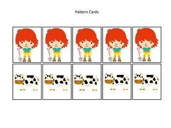 Down on the Farm themed Pattern Cards #2 preschool learning activity. Homeschool