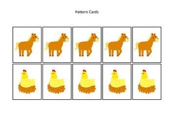 Down on the Farm themed Pattern Cards #4 preschool learning activity. Homeschool