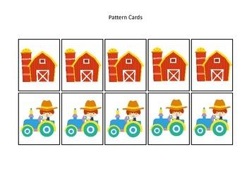 Down on the Farm themed Pattern Cards preschool learning activity.  Homeschool.