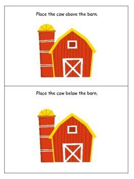 Down on the Farm themed Positional Cards preschool learning activity. Homeschool