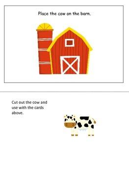 Down on the Farm themed Positional Cards preschool learnin