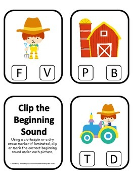 Down on the Farm themed Sound Clip it Cards preschool learning activity.  Homesc
