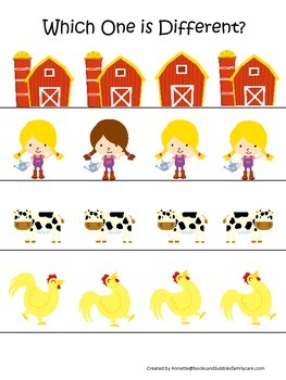 Down on the Farm themed Which One is Different preschool learning activity.