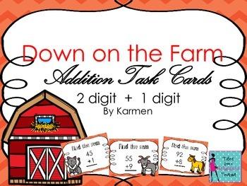 Down on the farm: Addition Task Cards: 2 digit + 1 digit addition