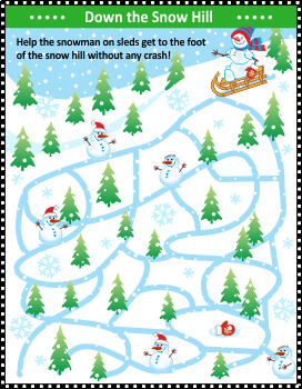 Down the Snow Hill Maze Game, Commercial Use Allowed