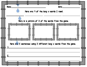 Down the Tubes- A Long u (u_e) Word Board Game