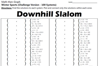 Downhill Slalom - Challenge Version - 100 Systems & Coordinate Graphing Activity