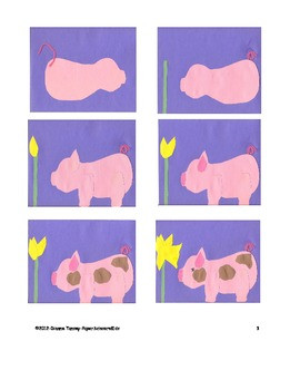 Downloadable Baby Pig and Daffodil Cut and Paste Art Project Pattern