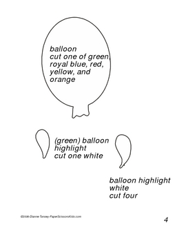 Downloadable Balloons Cut and Paste Art Activity Pattern Packet