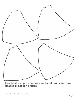 Downloadable Beach Ball and Sand Pail Cut and Paste Pattern Packet
