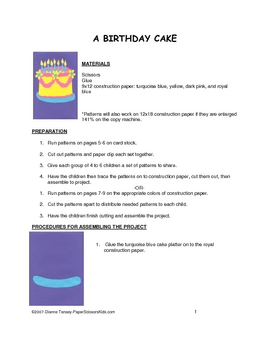 Downloadable Birthday Cake Art Project Cut and Paste Pattern Packet