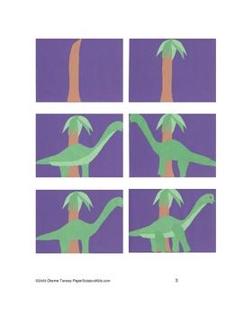 Downloadable Brachiosaurus Cut and Paste Art Project Pattern Packet