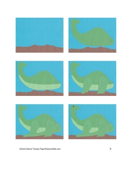 Downloadable Brontosaurus Cut and Paste Art Project Pattern Packet