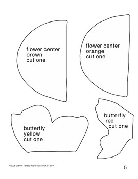 Downloadable Butterfly on a Flower Cut and Paste Art Project Pattern Packet