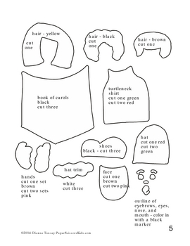 Downloadable Carolers Cut and Paste Art Project Pattern Packet