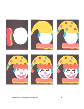 Downloadable Clown Cut and Paste Art Project Pattern Project