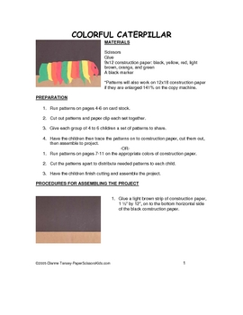 Downloadable Colorful Catepillar Cut and Paste Pattern Packet