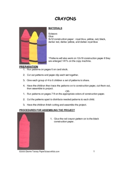 Downloadable Crayons Cut and Paste Art Project Pattern Packet