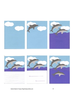 Downloadable Dolphins Writing Cut and Paste Art Project Pattern Packet