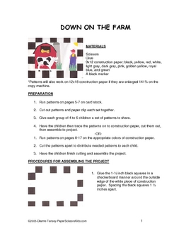 Downloadable Down on the Farm Cut and Paste Art Project Pattern Packet