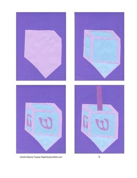 Downloadable Dreidel Cut and Paste Art Project Pattern Packet