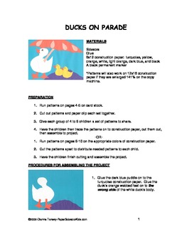 Downloadable Ducks on Parade Cut and Paste Art Project Pattern Packet