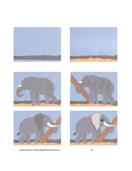 Downloadable Elephant Cut and Paste Art Project Pattern Packet