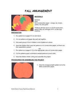 Downloadable Fall Arrangement Cut and Paste Art Project Pattern Packet
