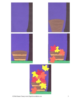 Downloadable Fall Leaves Cut and Paste Art Project Pattern Packet