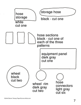 Downloadable Firetruck Cut and Paste Art Project Pattern Packet