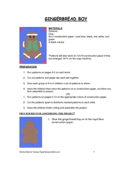 Downloadable Gingerbread Boy Cut and Paste Art Project Pat