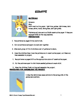 Downloadable Giraffe Cut and Paste Art Project Pattern Packet