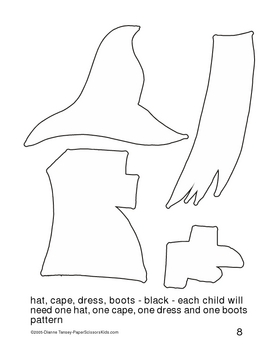 Downloadable Halloween Witch Cut and Paste Art Project Pattern Packet