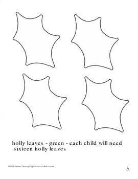 Downloadable Holly Wreath Cut and Paste Art Project Pattern Packet