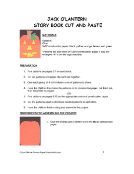 Downloadable Jack O'Lantern Storybook Cut and Paste Pattern Packet