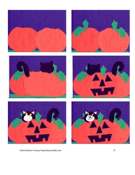 Downloadable Jack O'Lantern and Cat Cut and Paste Pattern Packet