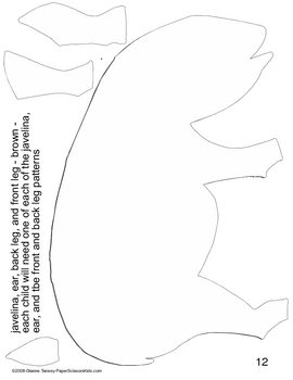 Downloadable Javelina Cut and Paste Art Project Pattern Packet