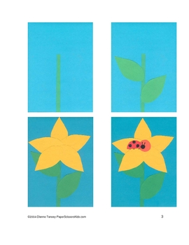Downloadable Ladybug on a Flower Cut and Paste  Pattern Packet