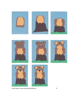 Downloadable Mischeivious Bear Cub Cut and Paste Pattern Packet