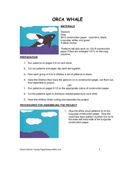 Downloadable Orca Whale Cut and Paste Art Project Pattern Packet
