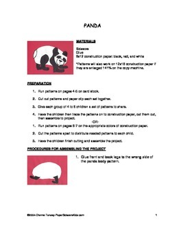 Downloadable Panda and Cut Paste Art Project Pattern Packet