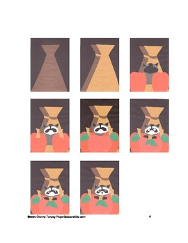 Downloadable Raccoon, Cornstalks, and Pumpkins Cut and Paste Pattern Packet