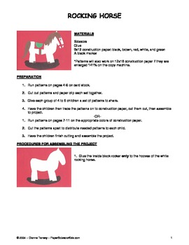 Downloadable Rocking Horse Cut and Paste Pattern Packet