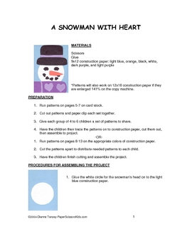 Downloadable Snowman with Heart Cut and Paste Activity Pattern Packet