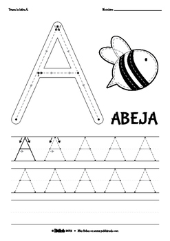 spanish abc tracing worksheets uppercase by patchimals tpt. Black Bedroom Furniture Sets. Home Design Ideas