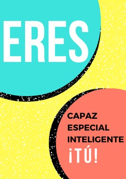 "Downloadable Spanish Poster: ""Eres capaz, especial, inteli"